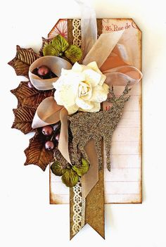 Stag Holiday Tag by Cari Fennell using November Magical Special Delivery kit for Prima. http://livewithprima.com/product/november-special-delivery-magical/
