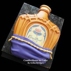 Confections in Cake 21 Birthday, Birthday Cakes For Men, Golden Birthday, Birthday Ideas, Liquor Bottle Cake, Liquor Cake, Crown Royal Cake, Royal Cakes