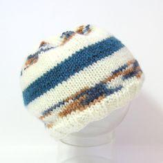 Bonnet bébé tricoté bleu, ivoire, marron taille 3/6 mois Tricotmuse : Mode Bébé par tricotmuse