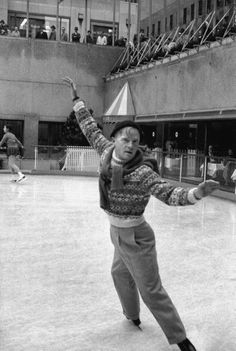 Truman Capote ice skating at the Rockefeller Center, 1959  Photo Alfred Eisenstaedt