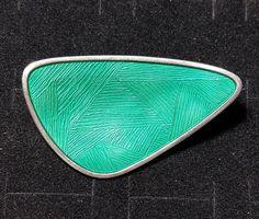 Sterling Silver Enameled Pin Norway Karl Rasmussen Modernist Abstract