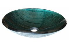 Eden Bath EB_GS03 Teal Glass Bathroom Vessel Sink with Embossed Pattern