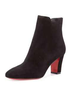 Tiagadaboot Suede 70mm Red Sole Bootie, Black by Christian Louboutin at Neiman Marcus.