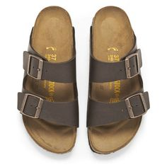 Birkenstock Women's Arizona Slim Fit Double Strap Sandals - Brown found on Polyvore featuring shoes, sandals, flats, adjustable shoes, traction shoes, double strap sandals, flat shoes and flat heel shoes