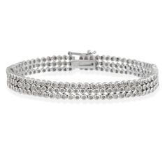 Sterling Silver 2ct Diamond Three Row Bracelet $149.99
