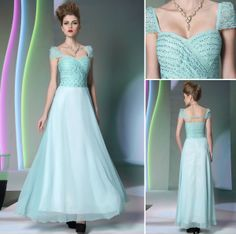 A line cap sleeves sweetheart chiffon light blue bridesmaid dress with rhinestones and lace,$198.00