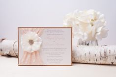 GEORGIA: Blush and Ivory Lace Wedding Invitation, Shabby Chic Flower Invitation, Vintage Wedding Invitation, Peach Bridal Shower Invitation
