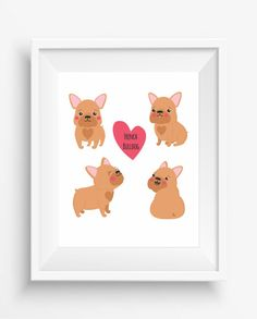 Cute Dog French Bulldog ,French Bulldog Art, Dog Art,Wall Art, Dog…