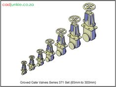 Valves: Gate Valve –Grooved Series 371 Set to Autocad, All Block, Gate Valve, Cad Blocks, Data Sheets, Plumbing Fixtures, Names, The Unit, 3d