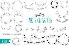 Vector Laurels & Wreaths by rachelwhiteart on Creative Market – Laurel Wreath İdeas. Pencil Illustration, Graphic Illustration, Vector Illustrations, Wreath Drawing, Freebies, Clip Art, Laurel Wreath, Heart With Arrow, Tatoo