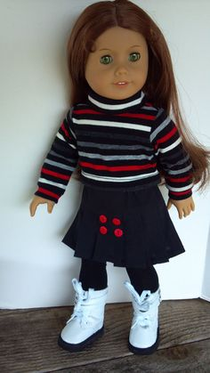 American Girl 18 Doll Clothes Black and red, by sewsweetdollboutique
