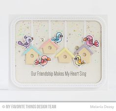 Purr-fect Friends Stamp Set and Die-namics, Birdhouses Die-namics, Single Stitch Line Rounded Rectangle Frames Die-namics. - In the Buff, Summer Splash, Tickled Pink, Lemon Chiffon and Grapesicle Premium Card Stock- Primitive Cream Card Stock for the background then  splash colorful watercolor with my brush. Images colored w copics Clear sequins.