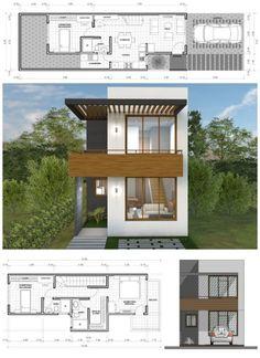 10 designs of two-story houses + plans world facades Two Story House Design, Two Story House Plans, Two Story Homes, Small House Design, Narrow House Designs, Narrow House Plans, Modern House Plans, Home Design Floor Plans, Dream House Exterior