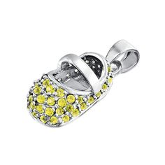 Bling Jewelry Baby Shoe Charm 925 Silver Simulated Citrine CZ >>> Visit the image link more details.