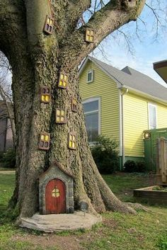 51 Small Backyard Playground Landscaping Ideas on a Budget - Modern Gnome Door, Fairy Tree Houses, Gnome Tree Stump House, Gnome House, Baumgarten, Backyard Playground, Garden Trees, Fairies Garden, Gnome Garden