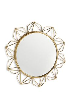 Primark - Espelho decorativo dourado Primark, Desk Accessories, Beautiful Interiors, My Room, Sweet Home, Bedroom Decor, Creative, Apartment Ideas, Gold