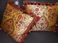 Throw pillows printed silk fabric rich colorful abstract floral Custom new PAIR