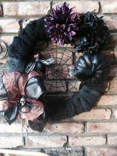 Halloween wreath. Almost completely all from dollar tree stuff!
