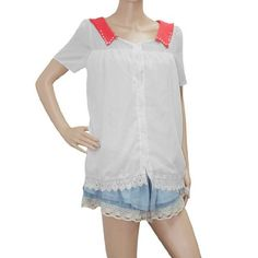 Allegra K Lady Button Closure Fake Pearl Decor Scalloped Hem Casual Chiffon Top Shirt White XS Allegra K. $10.73