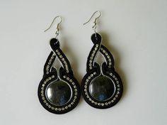sutasz/soutache unique black and silver earrings with hematite