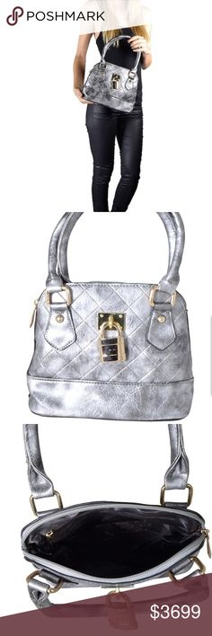 🎉COMING SOON🎉 Quilted Silver Gray Satchel Beautifully designed with a glossy surface This satchel handbag has an overall quilted pattern  Features a stylish and attractive surface Comfortable to carry as it has sturdy handles Consists of an attractive metal detailing that makes it look stylish All your belongings remain safe in this bag as it has durable zip closure It provides ample storage space The black color of this satchel bag looks stunning Bags Satchels