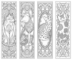 Cat themed packaging, stationery + editorial illustrations and pattern design Cat Coloring Page, Coloring Book Pages, Printable Coloring Pages, Coloring Sheets, Free Printable Bookmarks, Diy Bookmarks, Bookmarks To Color, Free Adult Coloring, Adult Coloring Pages