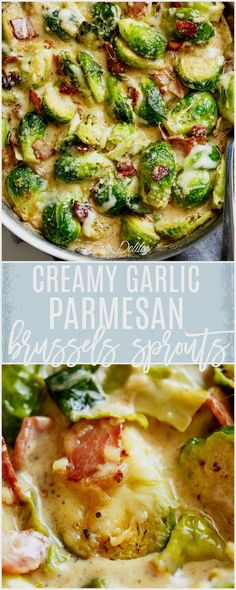 Creamy Garlic Parmesan Brussels Sprouts & Bacon will become your NEW favourite way to eat Brussels Sprouts! Guaranteed to convert any sprouts hater!