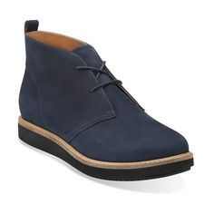 """Clarks'GlickWilla'Chukka Bootie, 1"""" heel ($123) ❤ liked on Polyvore featuring shoes, boots, ankle booties, ankle boots, navy nubuck, lace up booties, low heel ankle boots, short lace up boots, chukka boots and navy blue booties"""