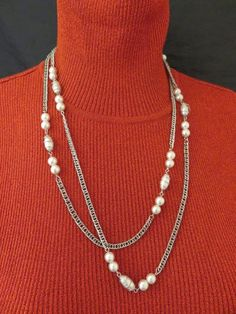 Wear this Sarah Coventry necklace, double layer, with any top for a fashion forward style.