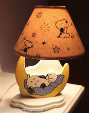 Sweet Dreams SNOOPY & WOODSTOCK PEANUTS Wooden Lamp Hand Painted Light Baby