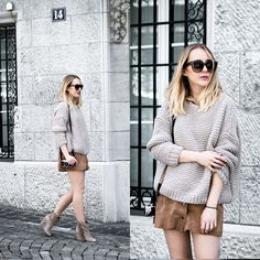 TIPHAINE  P. - Chunky knit & suede skirt
