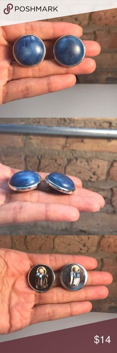 VINTAGE Blue Earth earrings VINTAGE Blue Earth earrings. Just enough color to make an outfit pop! Elegant yet fun! Jewelry items come in jewelry box with alcohol prep cleansing wipes. 1 inch from top to bottom. Jewelry Earrings