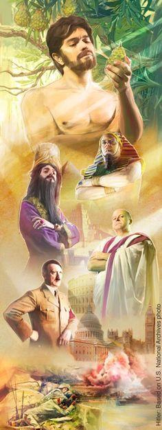 1. Adam looking at the forbidden fruit; 2. Various human rulers; 3. Scenes of war