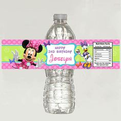 10 Minnie Mouse Bowtique Birthday Water Bottle by TonyPartyFavor