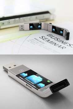 Unique and awesome product design - view files on the usb flash drive itself—no computer necessary High Tech Gadgets, Gadgets And Gizmos, New Gadgets, Cool Gadgets, Kids Gadgets, Baby Gadgets, Cooking Gadgets, Kitchen Gadgets, Futuristic Technology