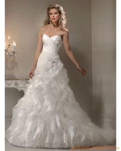 2013 Brautkleid für Prinzessin aus Organsin und Satin schulterfreier herzförmiger Ausschnitt mit gerafftem Korsett