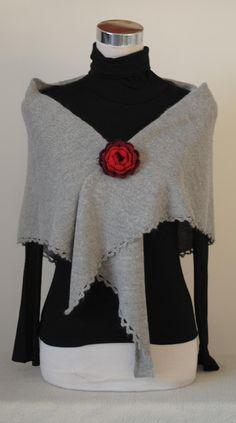 triangular shawl, knitting, alpaca, crochet flower