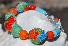 SUMMER TROPICS-Handmade Lampwork and Sterling Silver by livilubaby