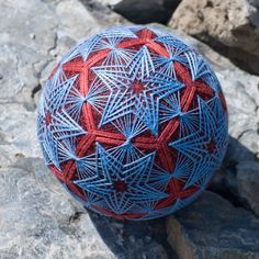 Blue Stars temari ball by mfrid on Etsy, $70.00