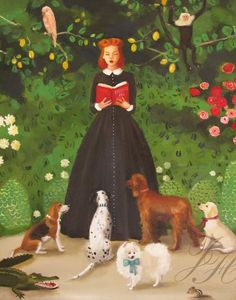 Miss Moon Was A Dog Governess- Lesson One:  Be Kind To The Wildlife And They May Return The Favour One Day. Art Print. $ 26.00, via Etsy | by Janet Hill