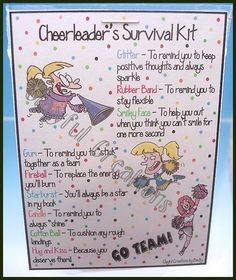cheerleader survival Kit- for my cheer team:) Cheer Camp, Football Cheer, Cheer Coaches, Cheerleading Gifts, Cheer Gifts, Cheer Dance, Team Gifts, Cheer Treats, Youth Cheer