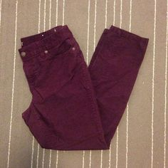 Loft modern skinny purple corduroy jeans Super soft deep purple corduroys from Loft. These are skinny jeans that slide perfectly into a pair of boots. In perfect condition. All pants in my closet are BOGO half off! LOFT Jeans Skinny