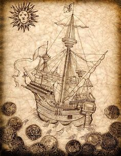 Pirate Ship Art Print Spanish Galleon with by GeographicsArt, $27.00