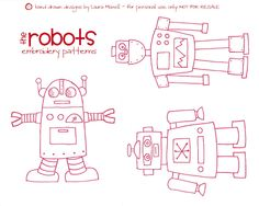 Free robot embroidery pattern. So cute!  have been wanting to try cross stitch again..