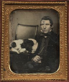 ca. 1850s, [daguerreotype portrait of a gentleman with his springer spaniel] via Charles Schwartz Photography