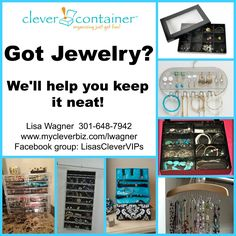 Clever Container offers simple solutions to organizing your jewelry. Whether at home or on the go, keeping them safe and untangled is easy! Join my Fb group for more organizing tips and ideas. https://www.facebook.com/groups/LisasCleverVIPs/ To order visit www.mycleverbiz.com/lwagner