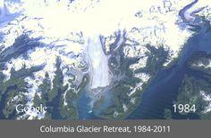 A timelapse of the Columbia glacier retreat, via Google/TIME