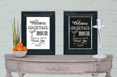 Cocktail Hour Sign Welcome Chalkboard Wedding by inspiredcompany4u
