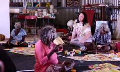 Antony Hegarty (second on right) with artists in the Martu community in Parnngurr in Western Australia's Pilbara region in 2013. The Martu will have an exhibition at Sydney's Museum of Contemporary Art in July 2015 to voice their objections to a uranium mine proposed for their lands.