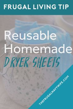 Save money on your laundry bill each month by making these easy homemade dryer sheets. Never spend money on them again and they are reusable. Diy Cleaners, Household Cleaners, Cleaners Homemade, Homemade Cleaning Supplies, Cleaning Hacks, Frugal Living Tips, Frugal Tips, Do It Yourself Projects, Do It Yourself Home
